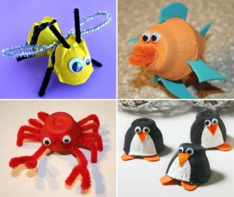 basteln-eierschachteln-biene-frühling-fisch-krabbe-krebs-pinguin