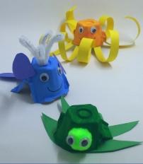 basteln-eierschachteln-meerestiere-schildkröte-wal-oktopus-papier-kinder