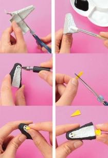 basteln-mit-eierschachteln-idee-schwarz-weiß-pinguin-schneiden-kleben