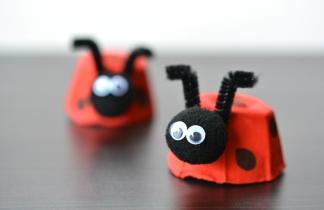 basteln-mit-eierschachteln-marienkäfer-idee-rot-schwarze-punkte-filzkugel