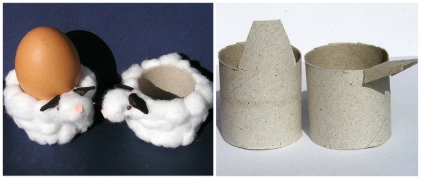 Eierbecher-basteln-DIY-anleitung-osterdeko-schaefchen-toilettenpapierrollen-watte
